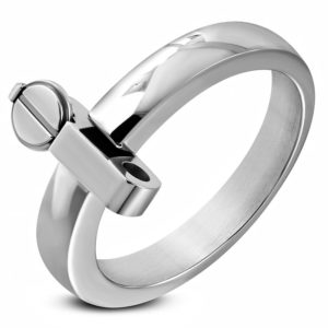 Stainless Steel Black 2 Color Roman Numeral Spinning Flat Band Ring